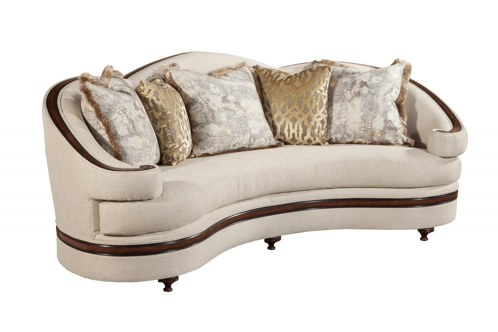 Classic, Traditional Dark Brown,  Beige Chenille and Fabric, Wood, Solid Hardwood Sofa 1 pcs Emma  by Benneti