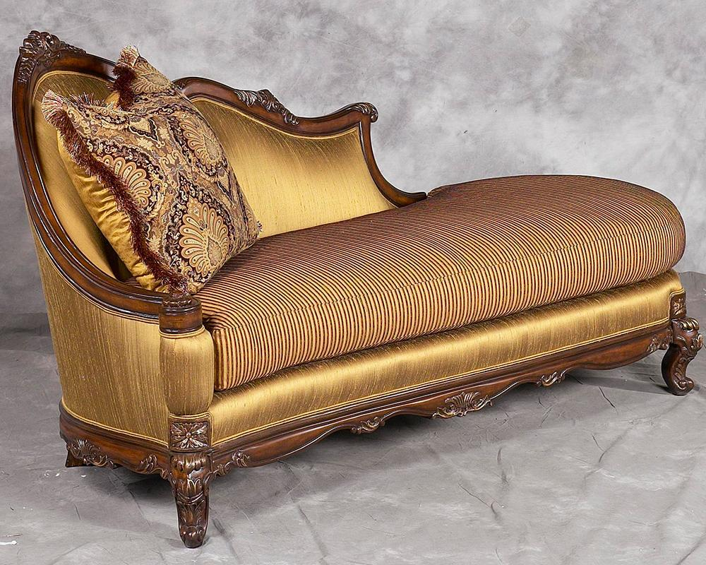 Classic, Traditional Bronze, Gold, Dark Walnut Chenille and Fabric, Wood, Solid Hardwood Chaise Lounge 1 pcs Milania by Benneti
