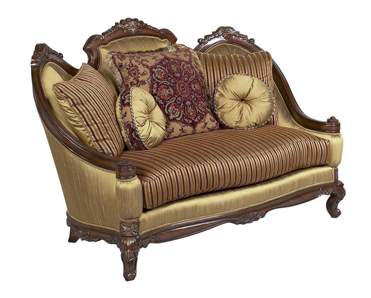 Classic, Traditional Bronze, Gold, Dark Walnut Chenille and Fabric, Wood, Solid Hardwood Loveseat 1 pcs Milania by Benneti
