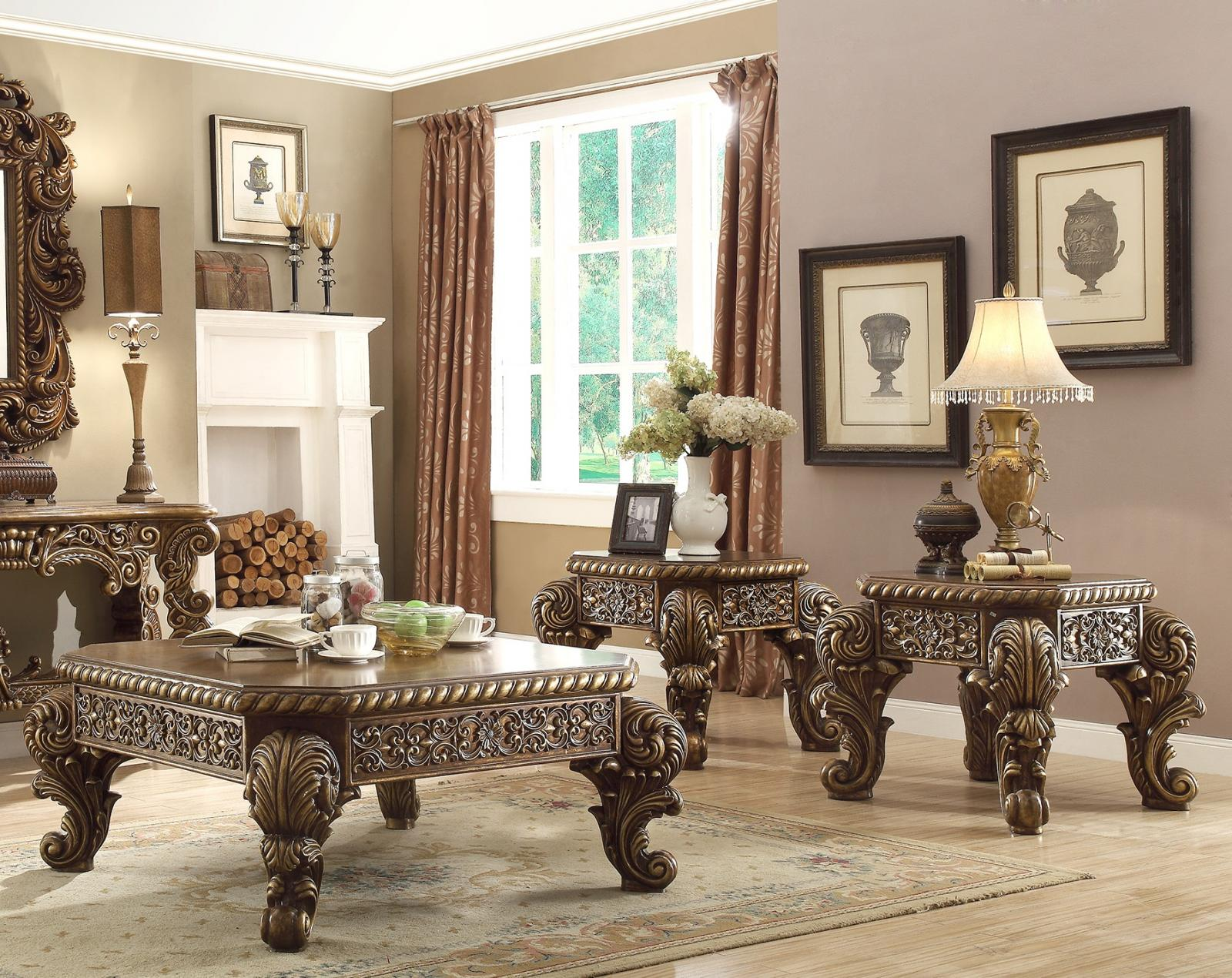 Traditional Walnut, Cream, Gold Finish  and Wood Coffee Table Set 3 pcs HD-8011 by Homey Design
