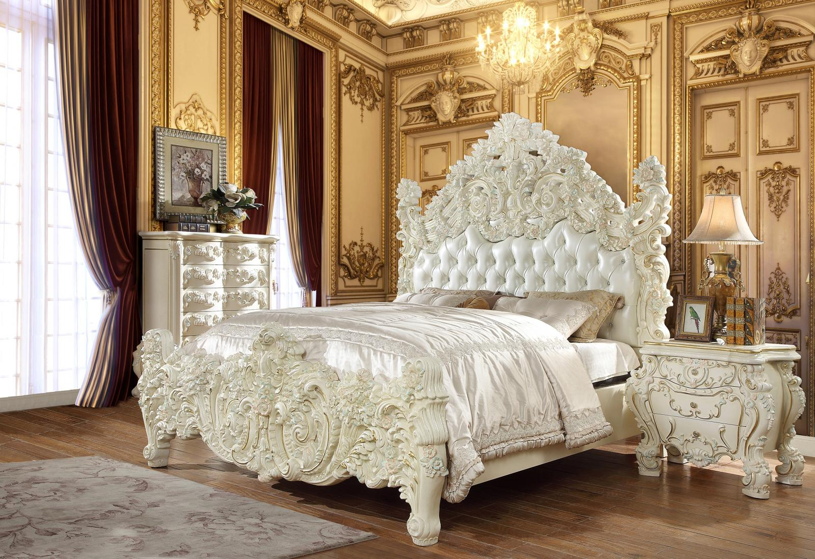 Traditional Gold, White Faux Leather and Wood, Solid Hardwood Sleigh Bedroom Set 6 pcs HD-8089 by Homey Design