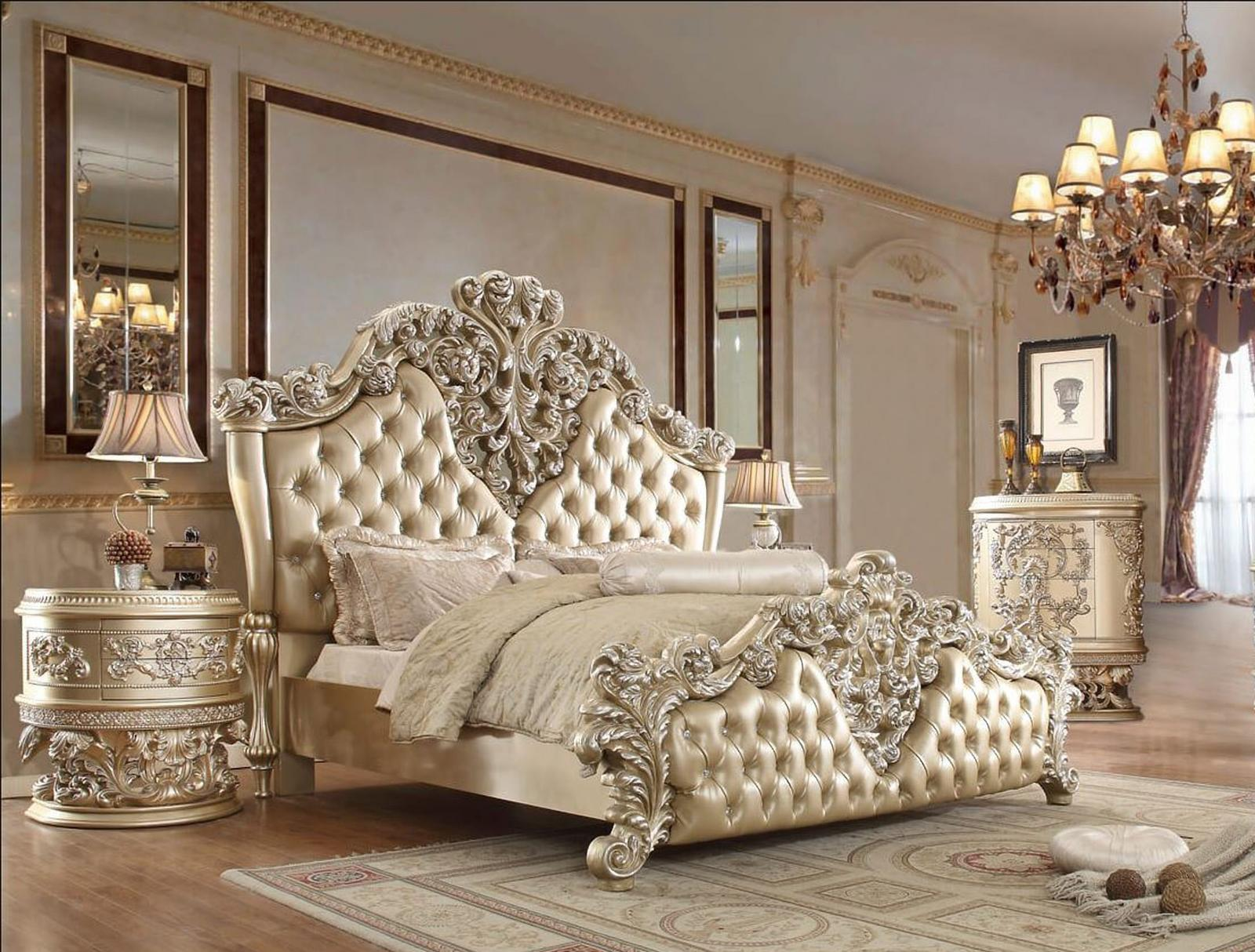 Traditional Champagne, Silver Faux Leather and Wood, Solid Hardwood Sleigh Bedroom Set 3 pcs HD-8022 by Homey Design