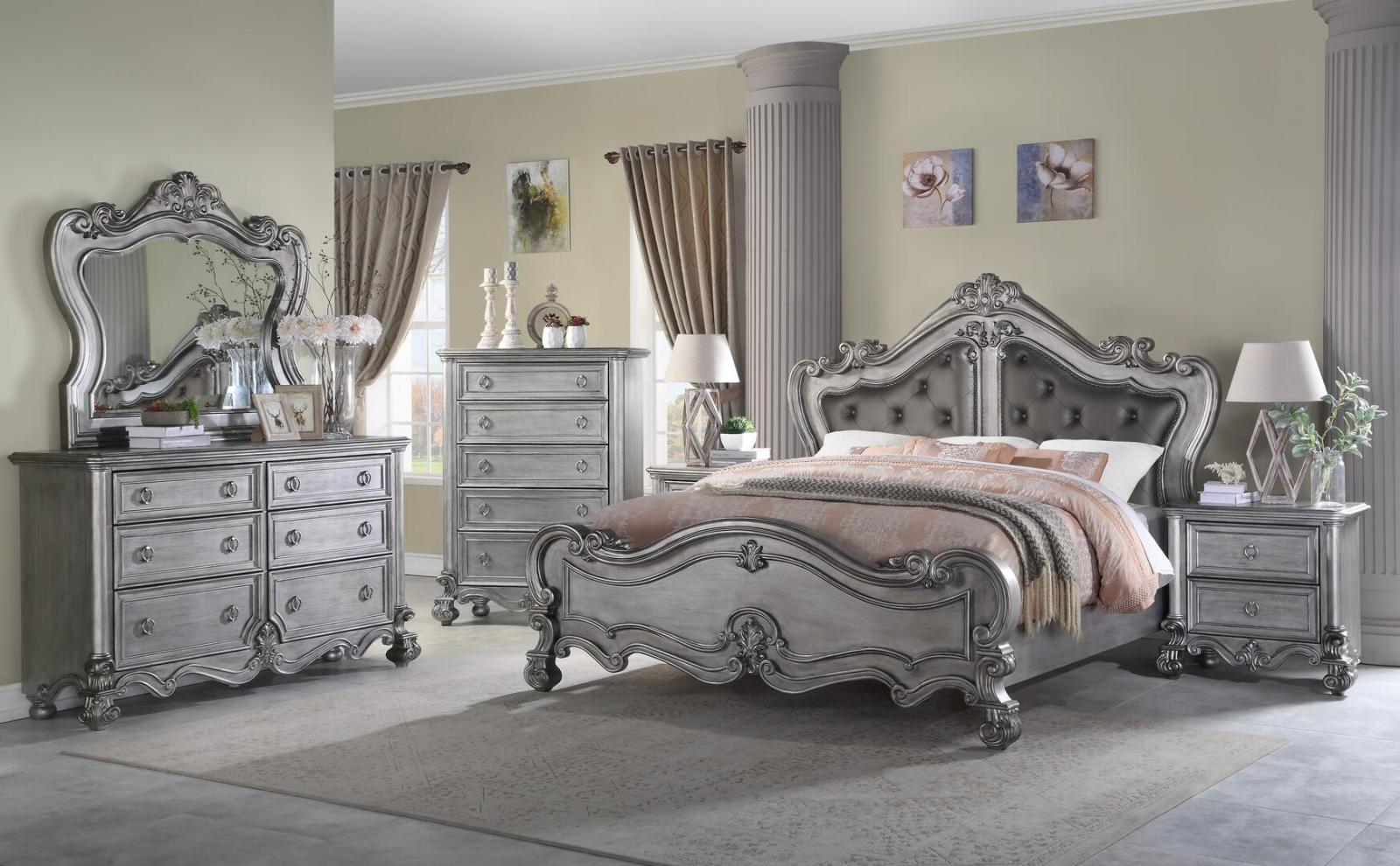 Transitional Gray, Silver Velour Panel Bedroom Set 6 pcs Cosmos Furniture Adriana-K-Set-6