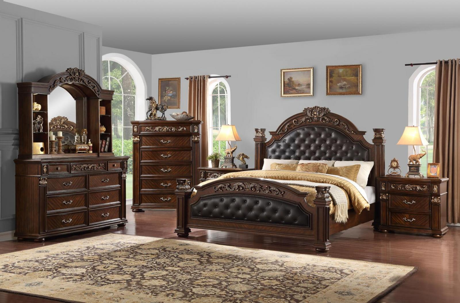 Traditional  Cherry PU Panel Bedroom Set 6 pcs Cosmos Furniture Aspen-Q-Set-6