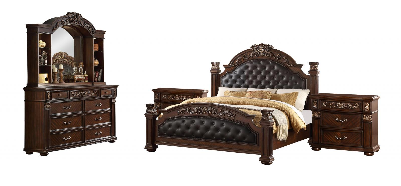 Traditional  Cherry PU Panel Bedroom Set 5 pcs Cosmos Furniture Aspen-K-Set-5