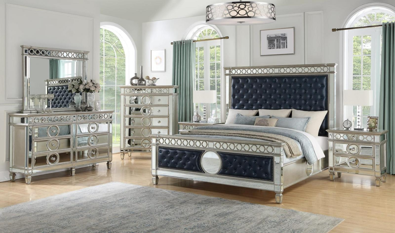 Contemporary Silver, Navy Faux Leather Panel Bedroom Set 6 pcs Cosmos Furniture Brooklyn-Q-Set-6