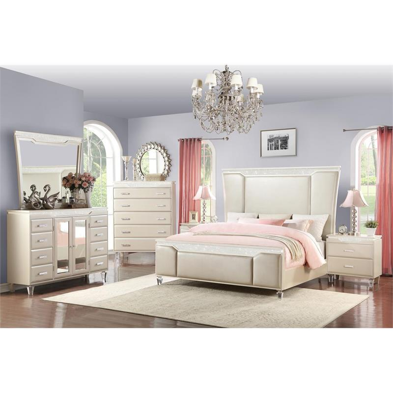 Contemporary White Fabric Panel Bedroom Set 6 pcs Cosmos Furniture Chanel-K-Set-6