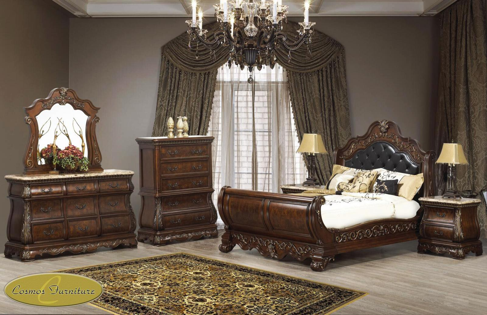 Traditional Cherry Faux Leather Sleigh Bedroom Set 6 pcs Cosmos Furniture Cleopatra-Q-Set-6