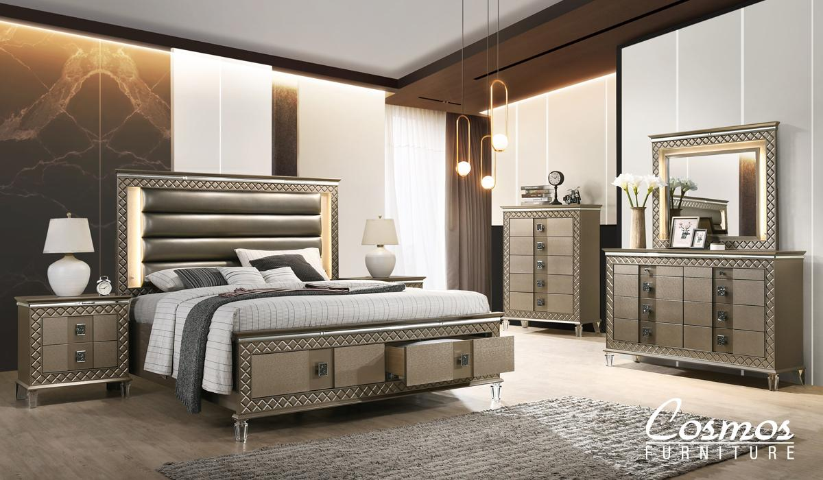 Contemporary Bronze Faux Leather Panel Bedroom Set 6 pcs Cosmos Furniture Coral-Q-Set-6