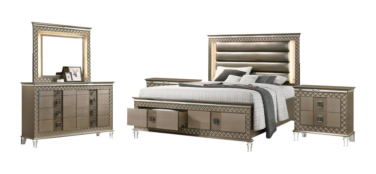 Contemporary Bronze Faux Leather Panel Bedroom Set 5 pcs Cosmos Furniture Coral-Q-Set-5