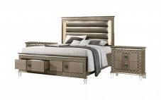 Contemporary Bronze Faux Leather Panel Bedroom Set 3 pcs Cosmos Furniture Coral-K-Set-3