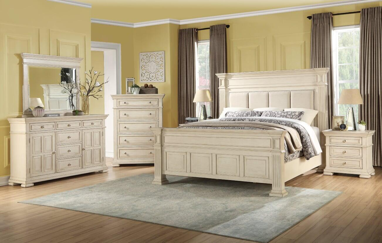 Transitional Off-White Fabric Panel Bedroom Set 6 pcs Cosmos Furniture Dakota-K-Set-6