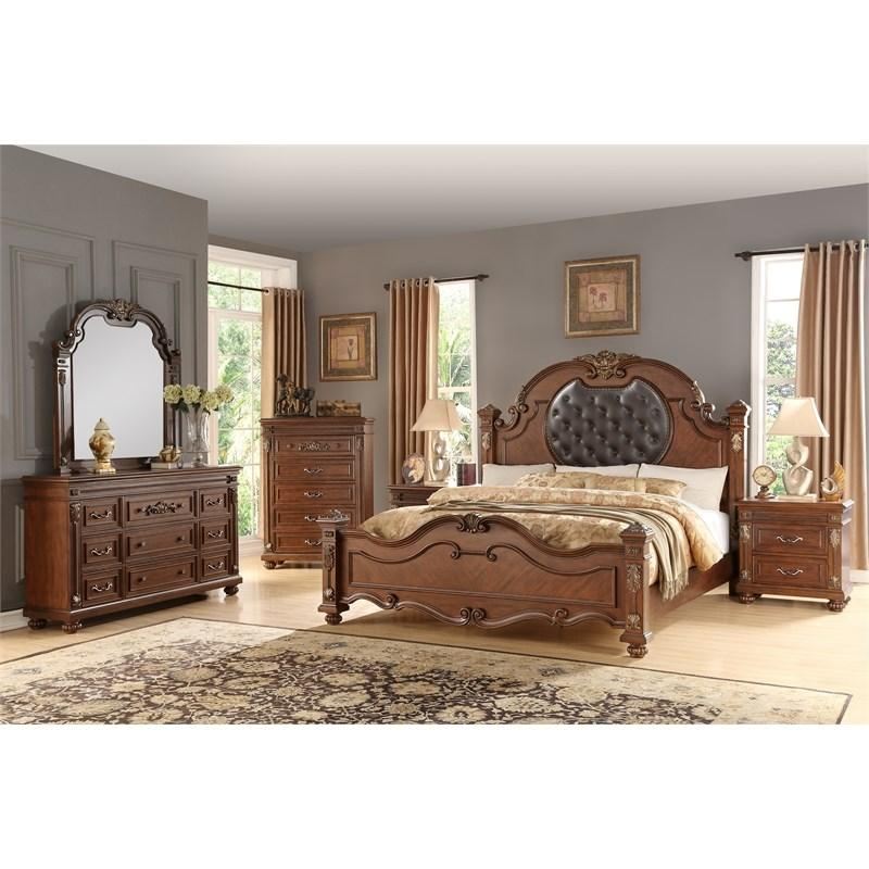 Traditional Cherry Faux Leather Panel Bedroom Set 6 pcs Cosmos Furniture Destiny-K-Set-6