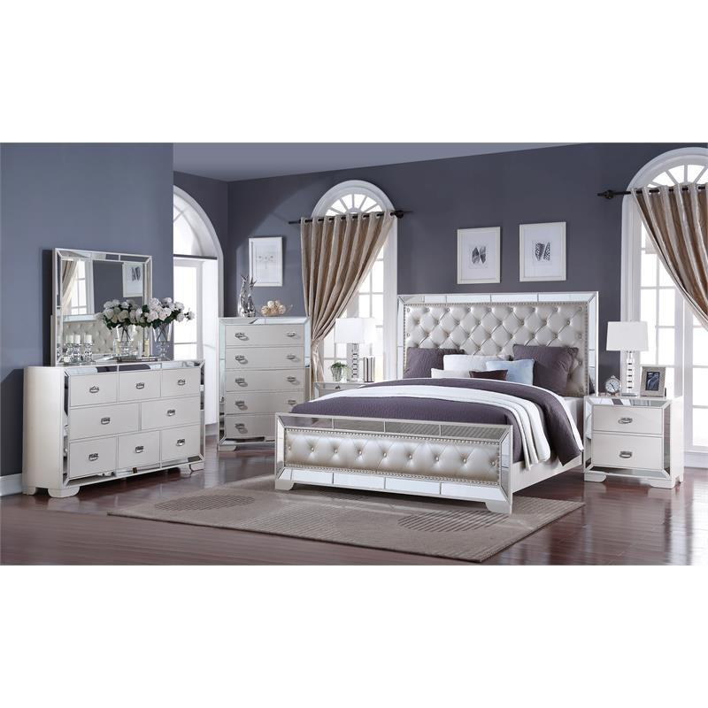 Contemporary White Faux Leather Panel Bedroom Set 6 pcs Cosmos Furniture Gloria-K-Set-6