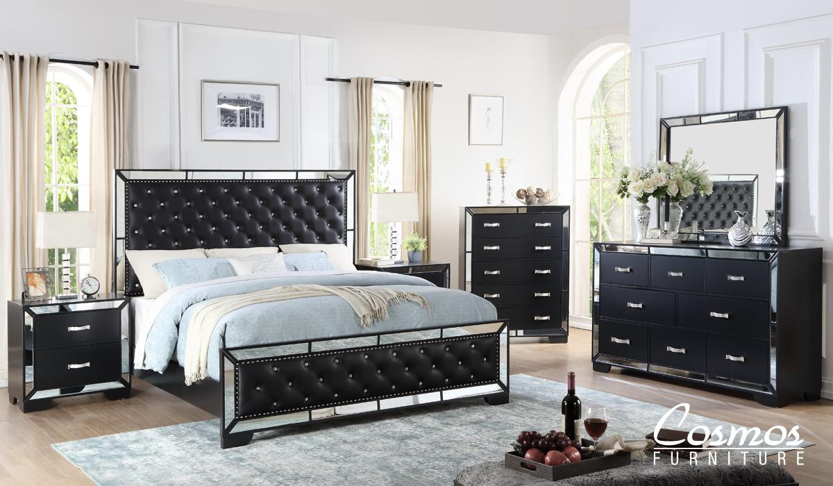 Contemporary Black Faux Leather Panel Bedroom Set 6 pcs Cosmos Furniture Gloria-K-Set-6