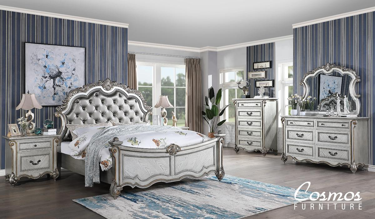 Transitional Silver Faux Leather Panel Bedroom Set 6 pcs Cosmos Furniture Melrose-K-Set-6