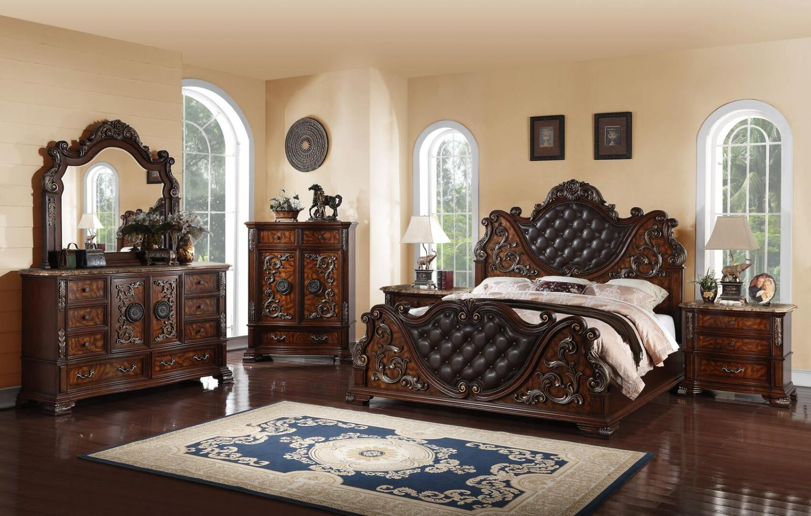 Traditional Cherry Faux Leather Panel Bedroom Set 6 pcs Cosmos Furniture Santa Monica-K-Set-6