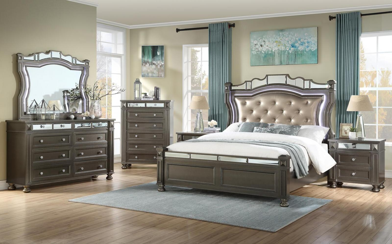 Contemporary Coffee Faux Leather Panel Bedroom Set 6 pcs Cosmos Furniture Sydney-K-Set-6