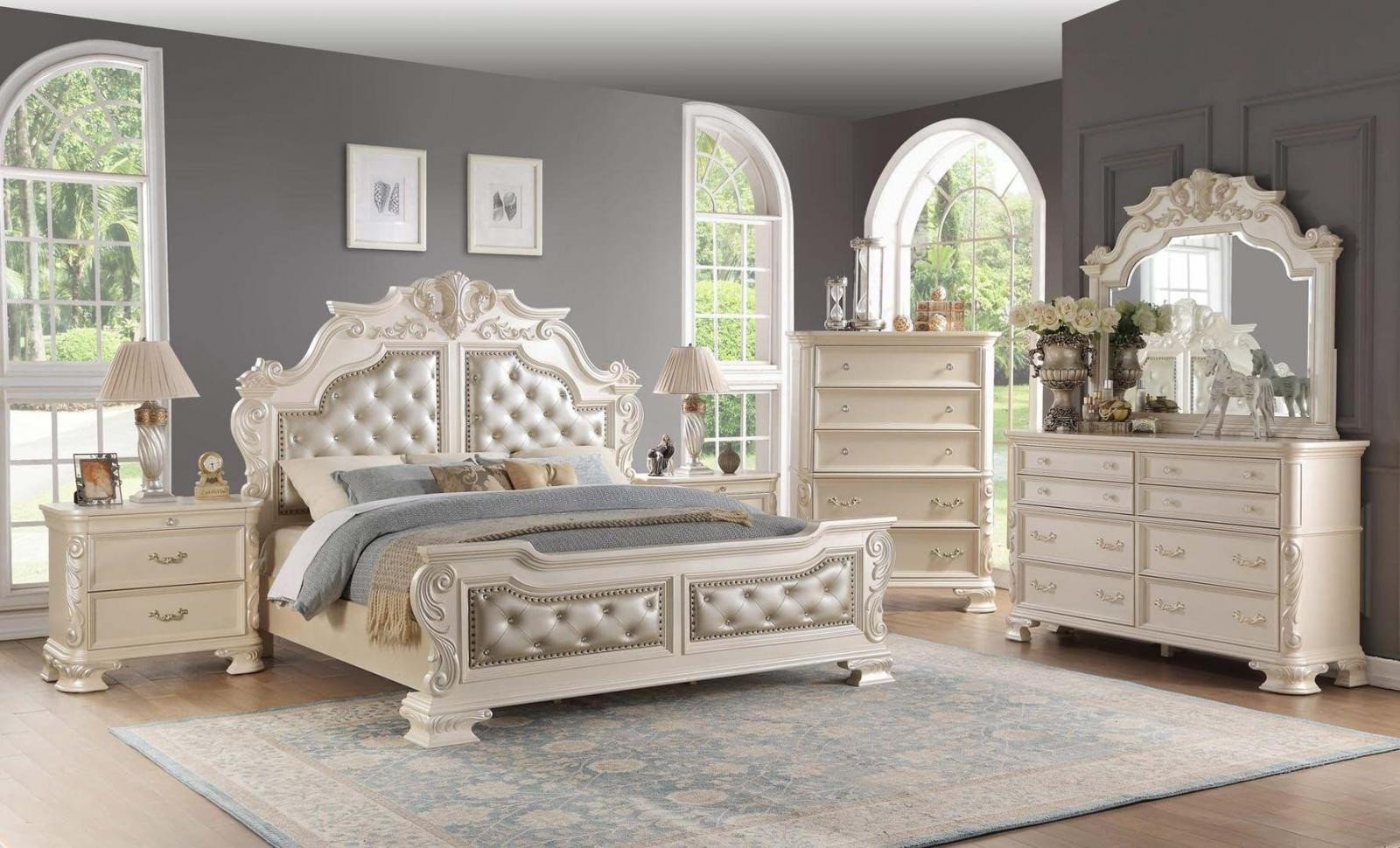 Traditional White Faux Leather Panel Bedroom Set 5 pcs Cosmos Furniture Victoria-Q-Set-5