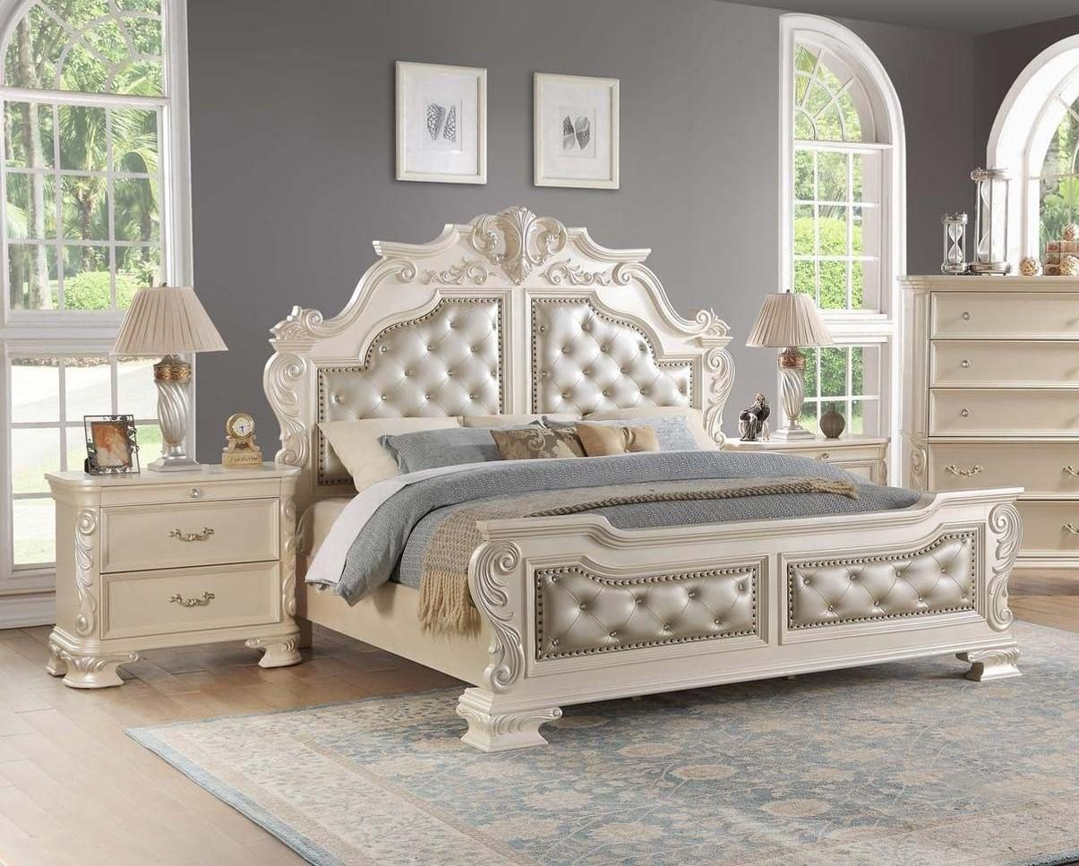 Traditional White Faux Leather Panel Bedroom Set 3 pcs Cosmos Furniture Victoria-Q-Set-3