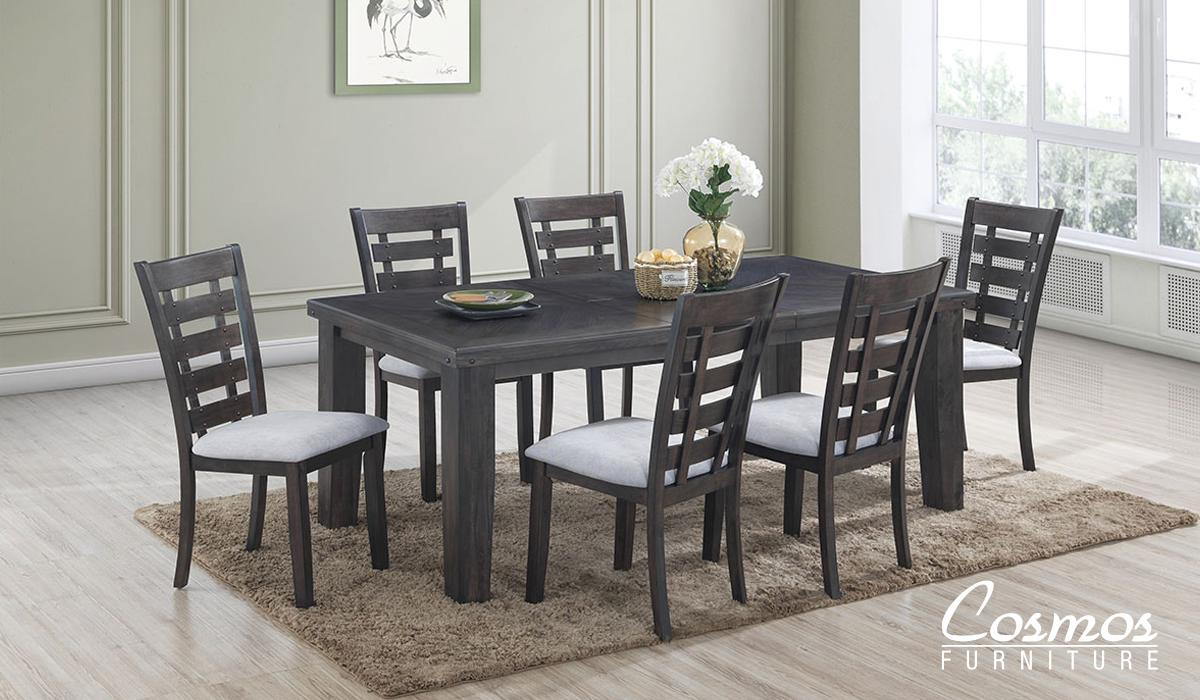 Transitional Gray Fabric Dining Room Set 7 pcs Cosmos Furniture Bailey-Set-7