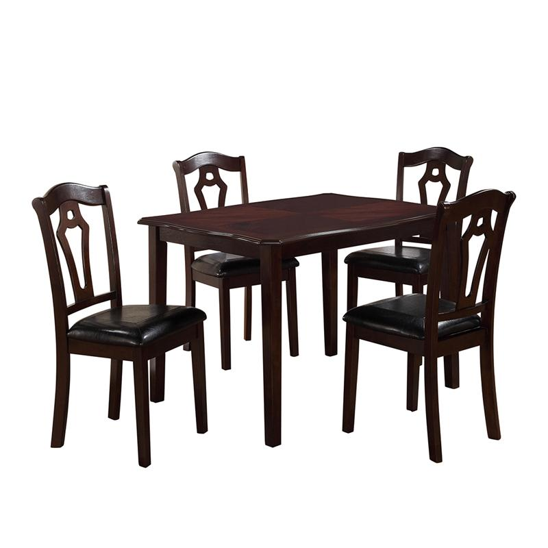 Transitional Cherry Faux Leather Dining Room Set 5 pcs Cosmos Furniture 2020BWBEL
