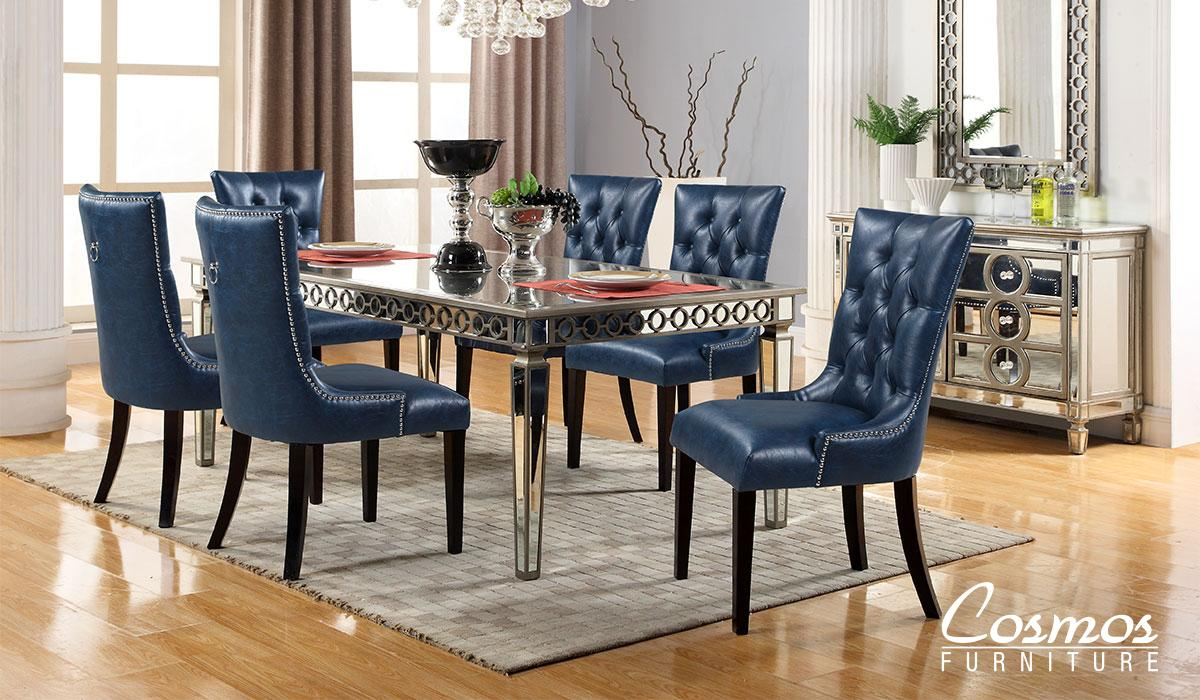 Contemporary Silver Faux Leather Dining Room Set 8 pcs Cosmos Furniture Brooklyn-Set-8