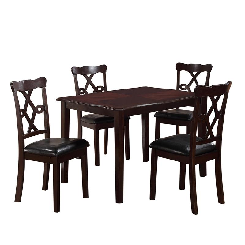 Transitional Espresso Faux Leather Dining Room Set 5 pcs Cosmos Furniture Copper-Set-5