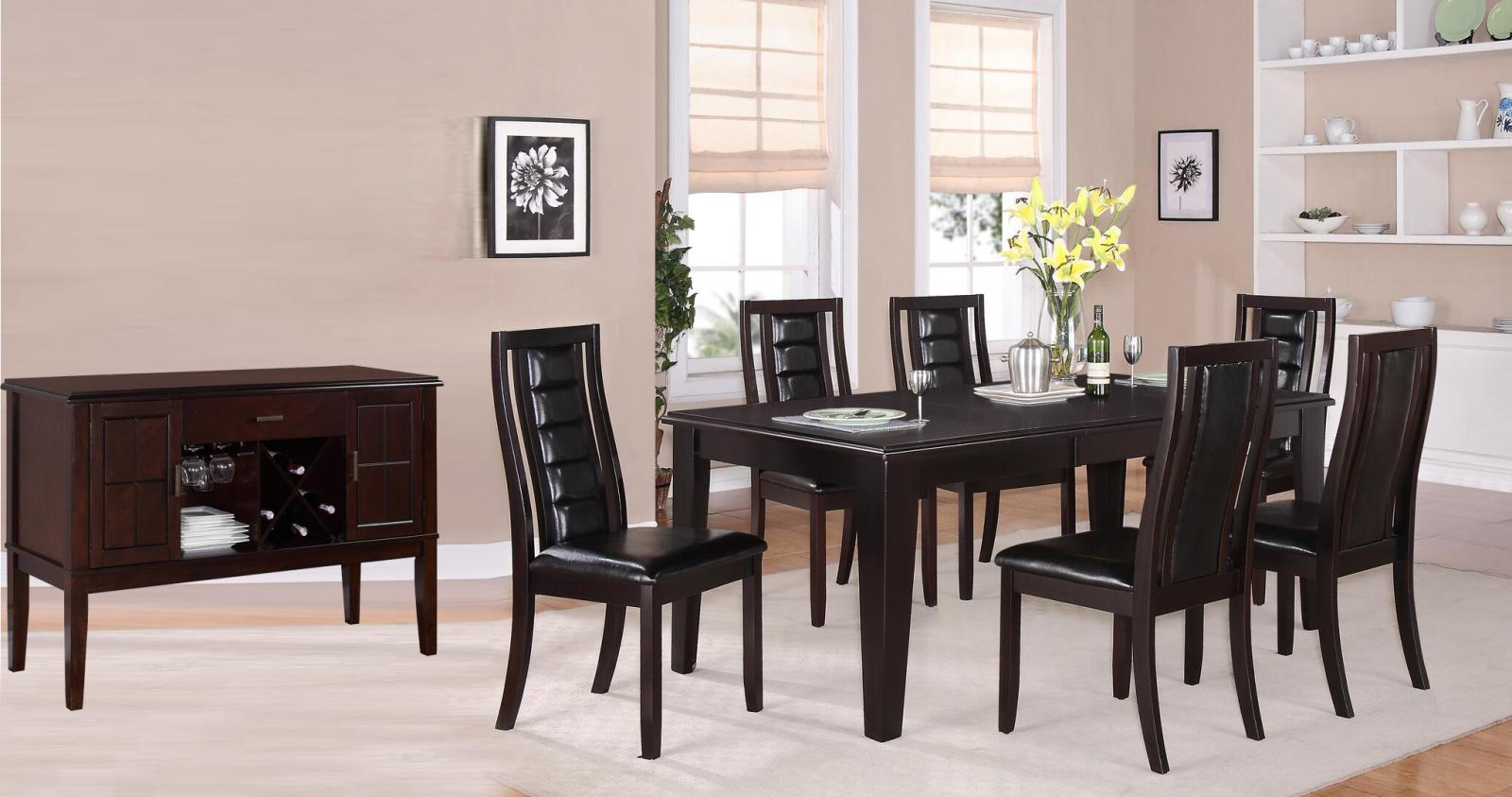Transitional Espresso Faux Leather Dining Room Set 8 pcs Cosmos Furniture Era-Set-8