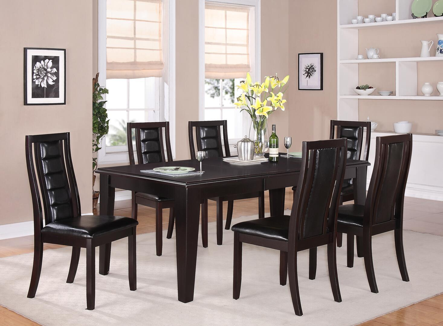 Transitional Espresso Faux Leather Dining Room Set 7 pcs Cosmos Furniture Era-Set-7