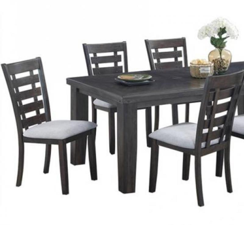 Transitional Gray Fabric Dining Room Set 5 pcs Cosmos Furniture Bailey-Set-5