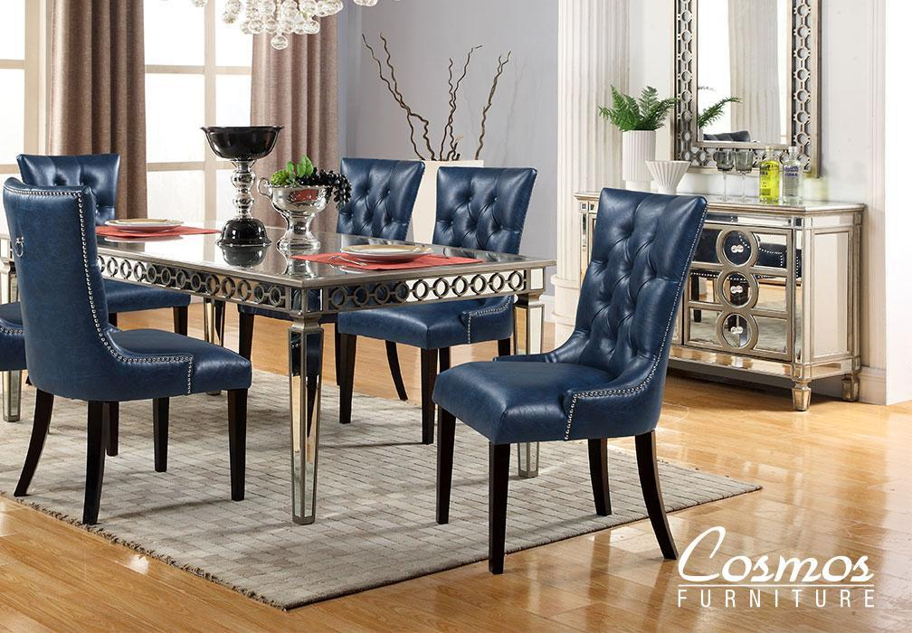 Contemporary Silver Faux Leather Dining Room Set 5 pcs Cosmos Furniture Brooklyn-Set-5