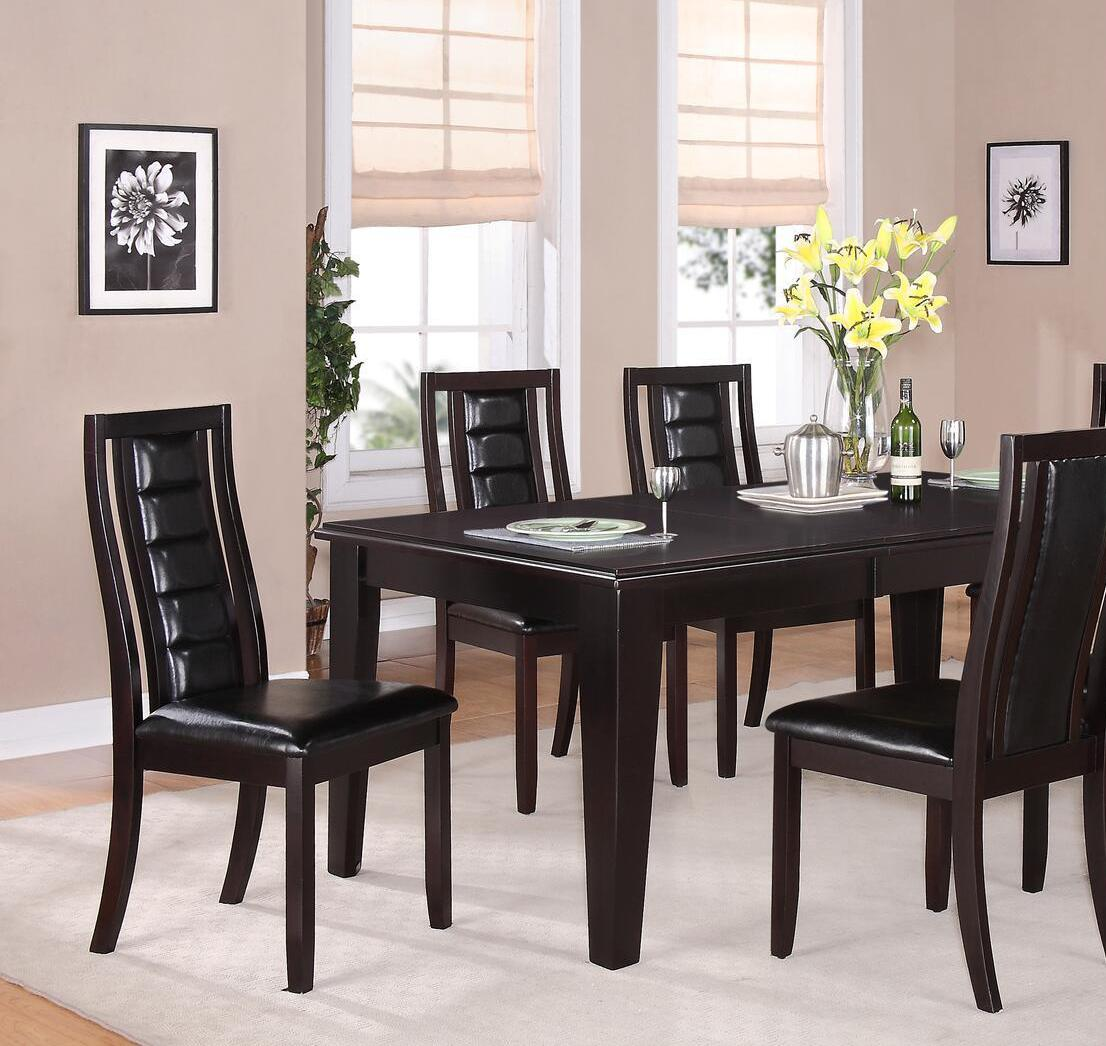Transitional Espresso Faux Leather Dining Room Set 5 pcs Cosmos Furniture Era-Set-5