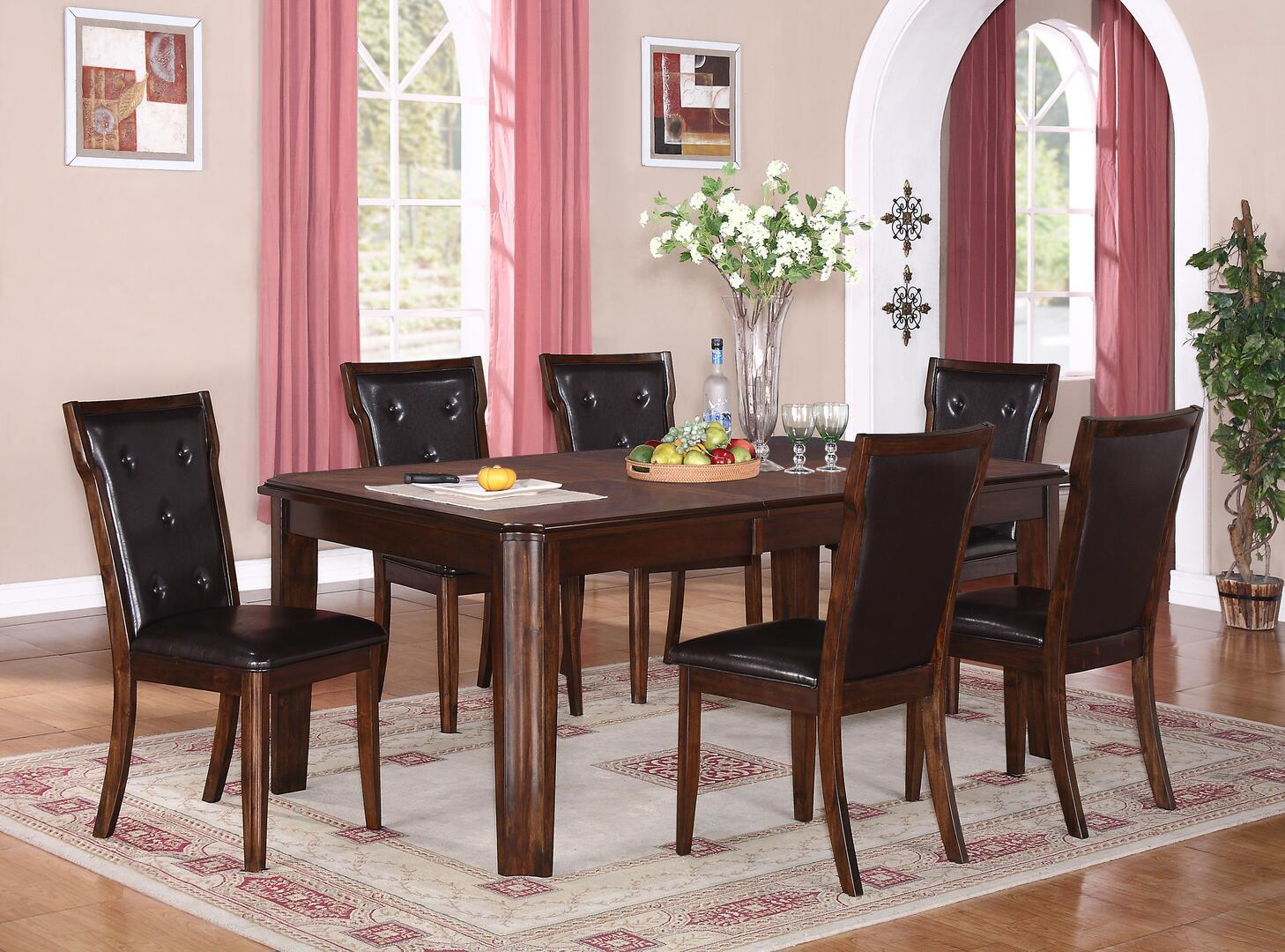 Transitional Espresso Faux Leather Dining Room Set 7 pcs Cosmos Furniture Pam-Set-7