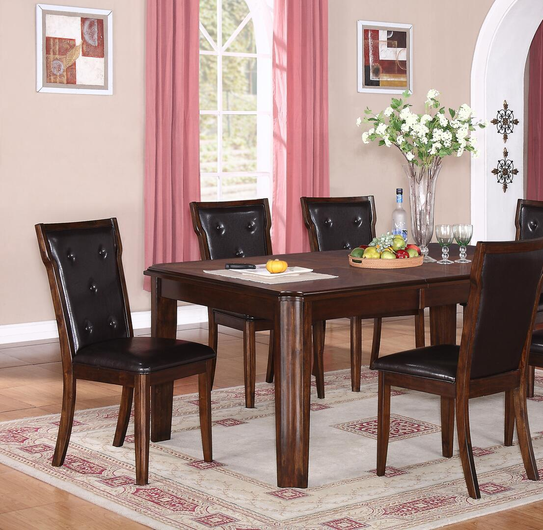 Transitional Espresso Faux Leather Dining Room Set 5 pcs Cosmos Furniture Pam-Set-5