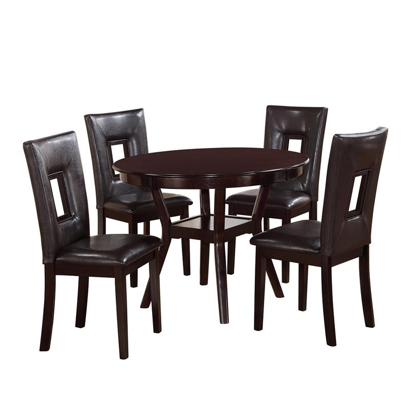 Transitional Espresso Faux Leather Dining Room Set 5 pcs Cosmos Furniture Poppy-Set-5