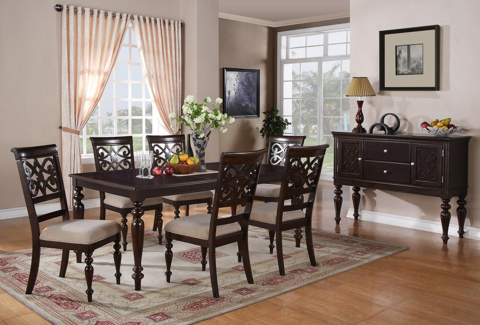 Transitional Cherry Fabric Dining Room Set 8 pcs Cosmos Furniture Zora-Set-8