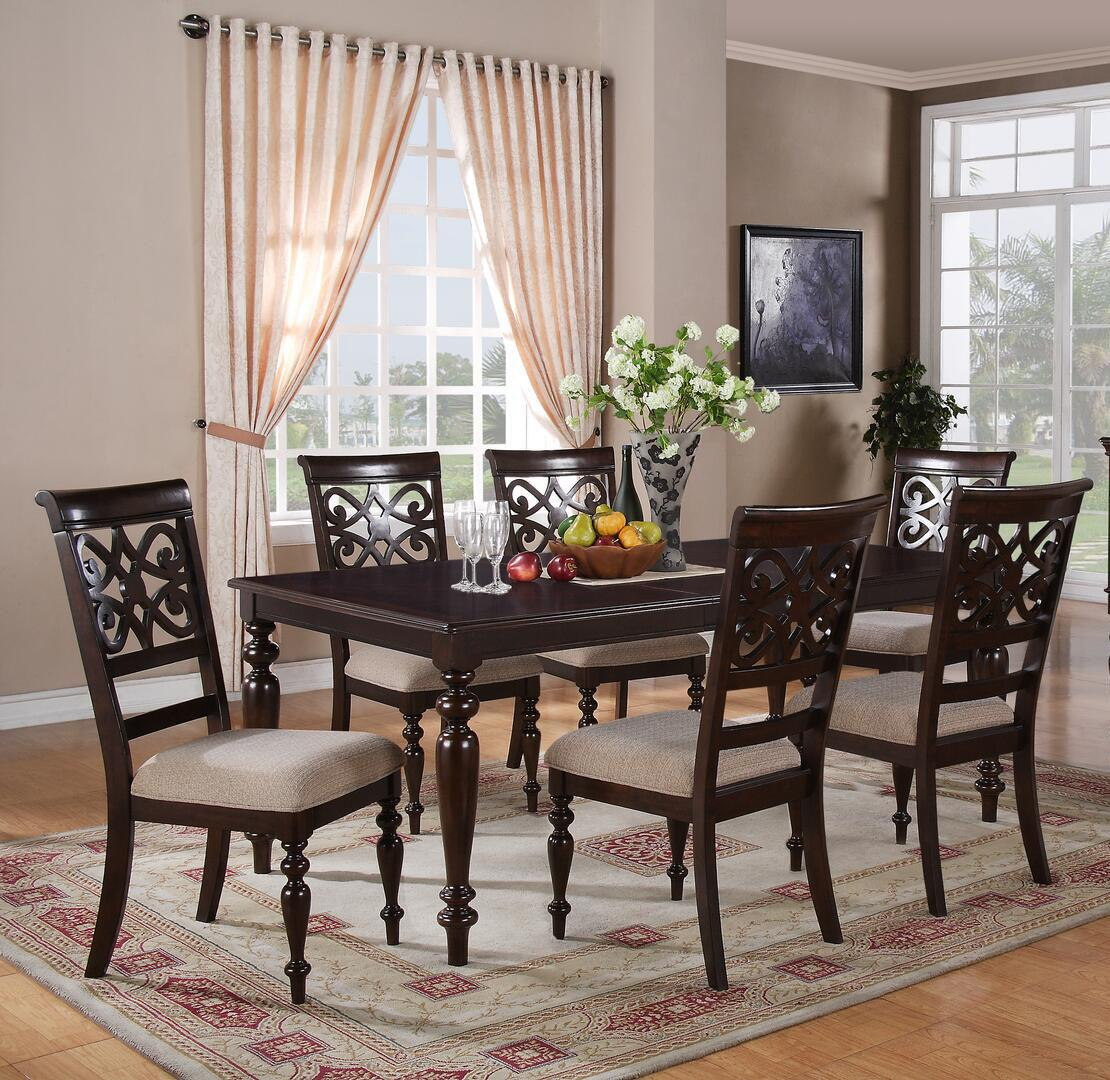 Transitional Cherry Fabric Dining Room Set 7 pcs Cosmos Furniture Zora-Set-7