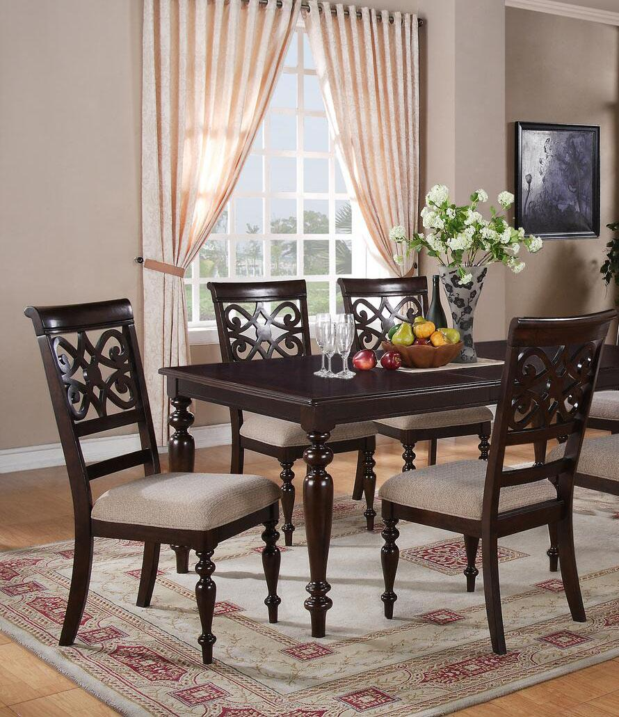 Transitional Cherry Fabric Dining Room Set 5 pcs Cosmos Furniture Zora-Set-5