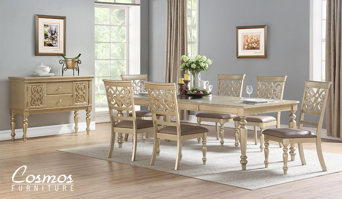 Transitional Gold Faux Leather Dining Room Set 8 pcs Cosmos Furniture Zora Gold-Set-8