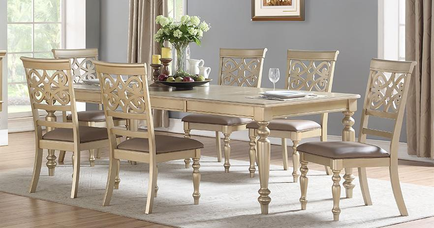 Transitional Gold Faux Leather Dining Room Set 7 pcs Cosmos Furniture Zora Gold-Set-7