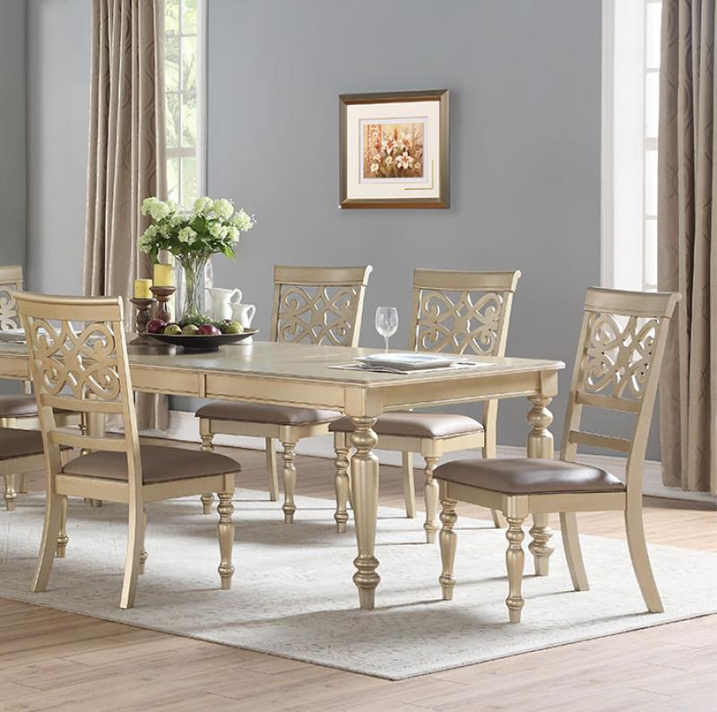 Transitional Gold Faux Leather Dining Room Set 5 pcs Cosmos Furniture Zora Gold-Set-5