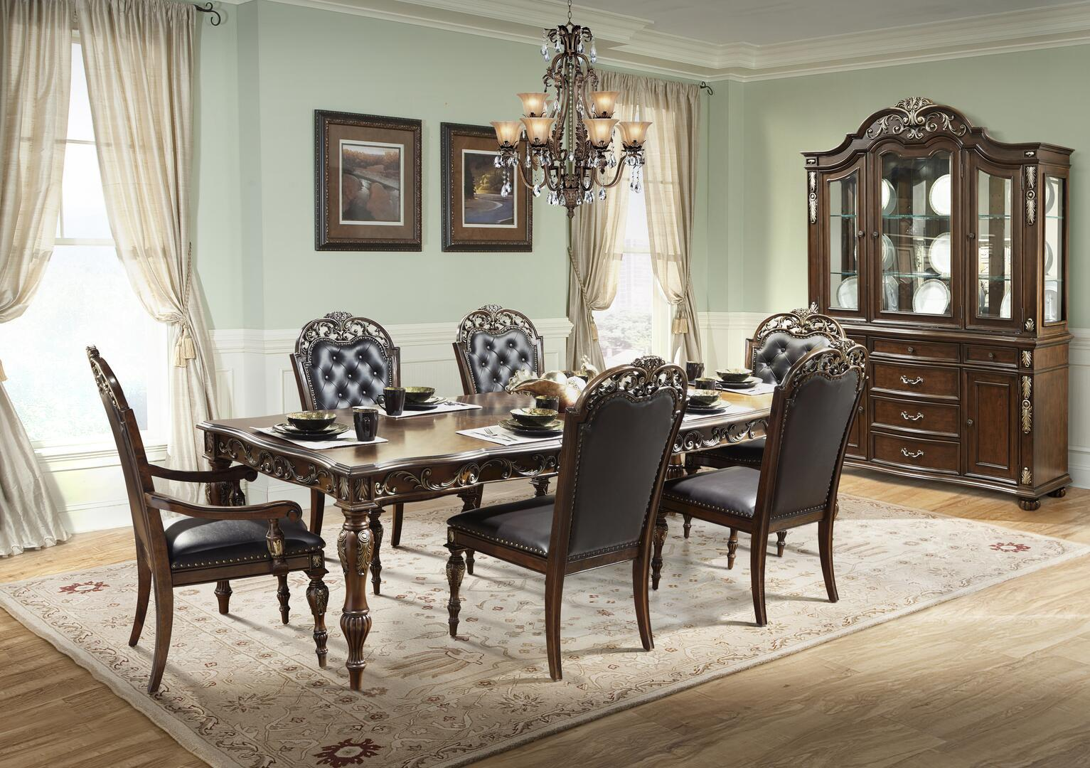 Traditional Cherry Faux Leather Dining Room Set 9 pcs Cosmos Furniture Rosanna-Set-9