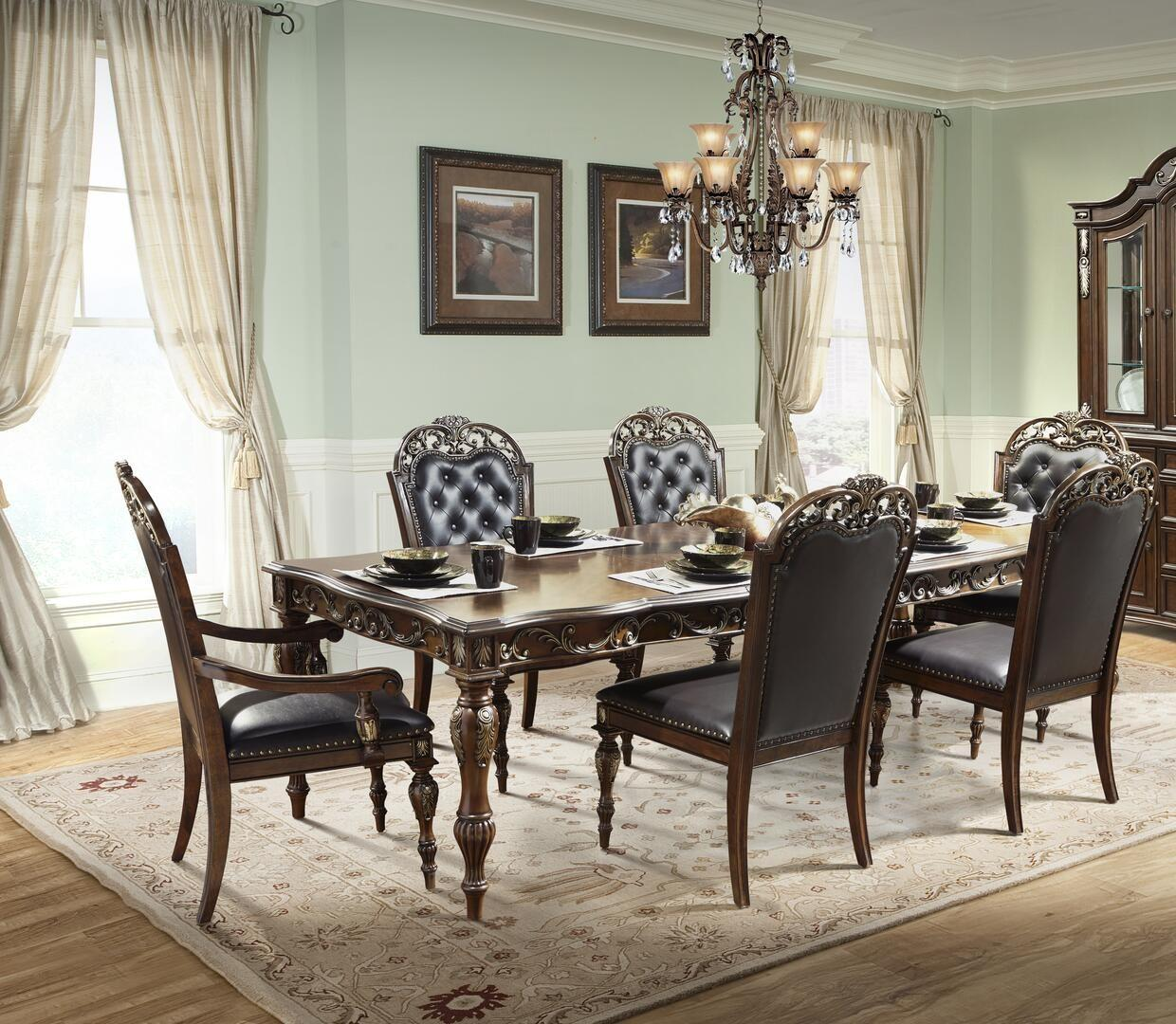 Traditional Cherry Faux Leather Dining Room Set 7 pcs Cosmos Furniture Rosanna-Set-7