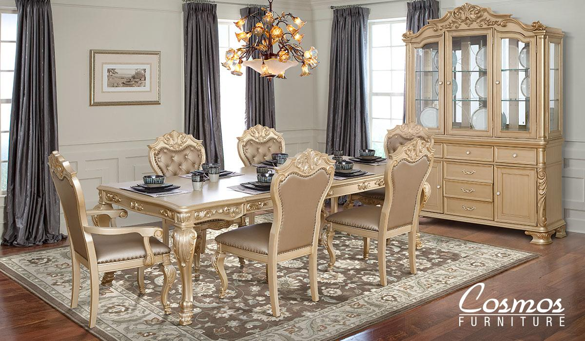 Transitional Gold Faux Leather Dining Room Set 9 pcs Cosmos Furniture Miranda-Set-9
