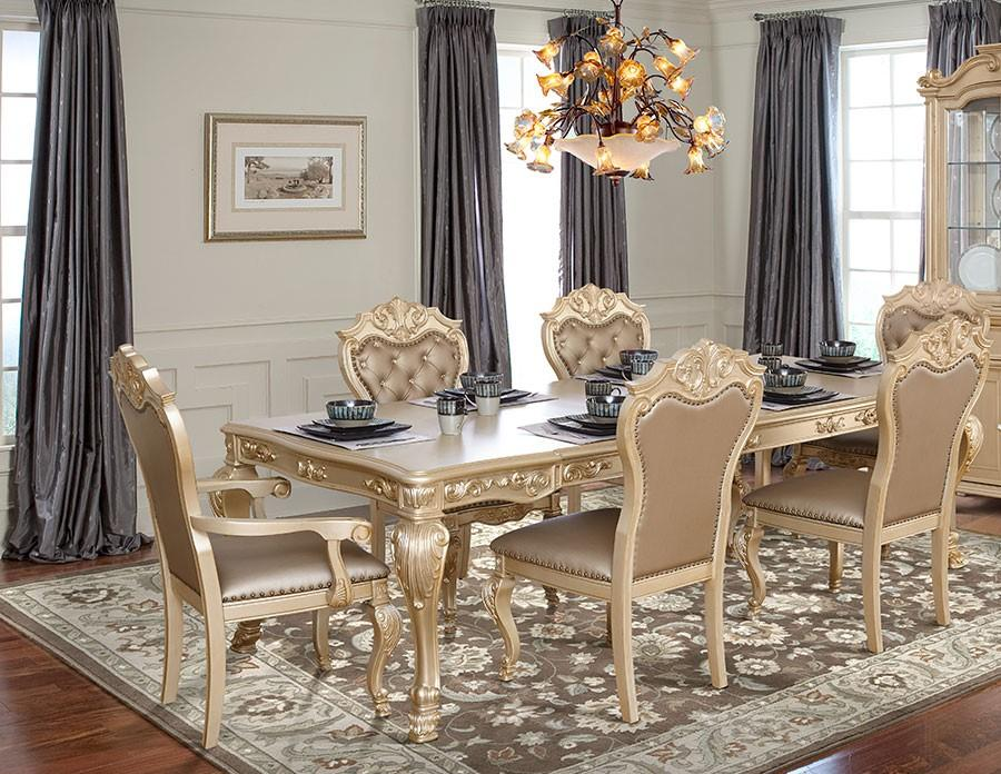 Transitional Gold Faux Leather Dining Room Set 7 pcs Cosmos Furniture Miranda-Set-7