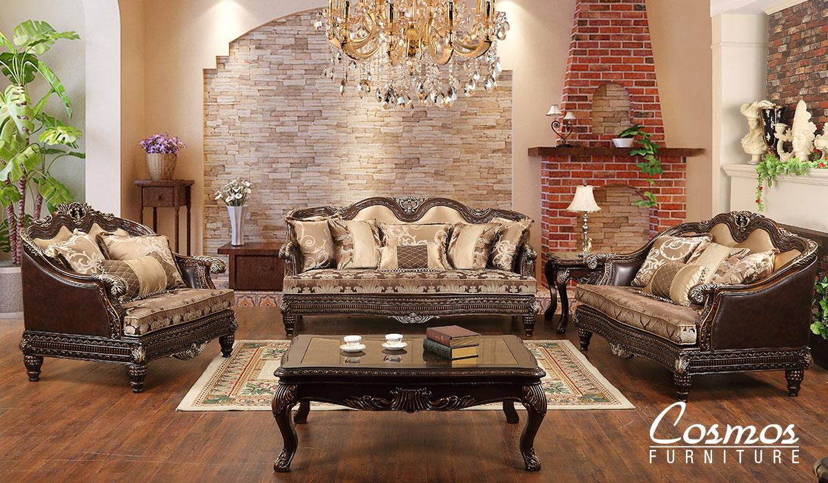 Traditional Cherry Faux Leather Sofa Loveseat Chair and Coffee Table 4 pcs Cosmos Furniture Alexa-Set-4