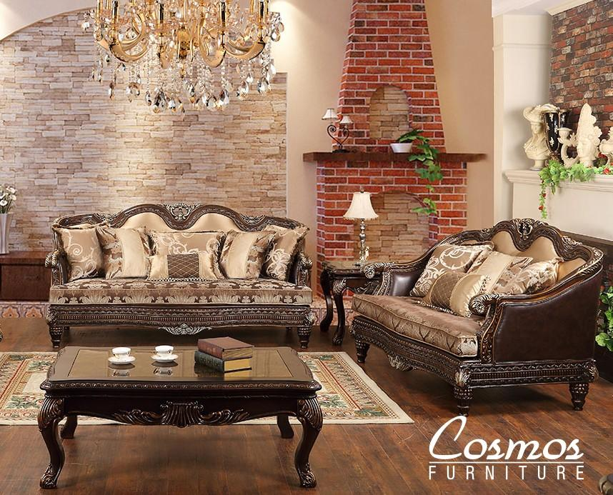 Traditional Cherry Faux Leather Sofa and Loveseat Set 2 pcs Cosmos Furniture Alexa-Set-2