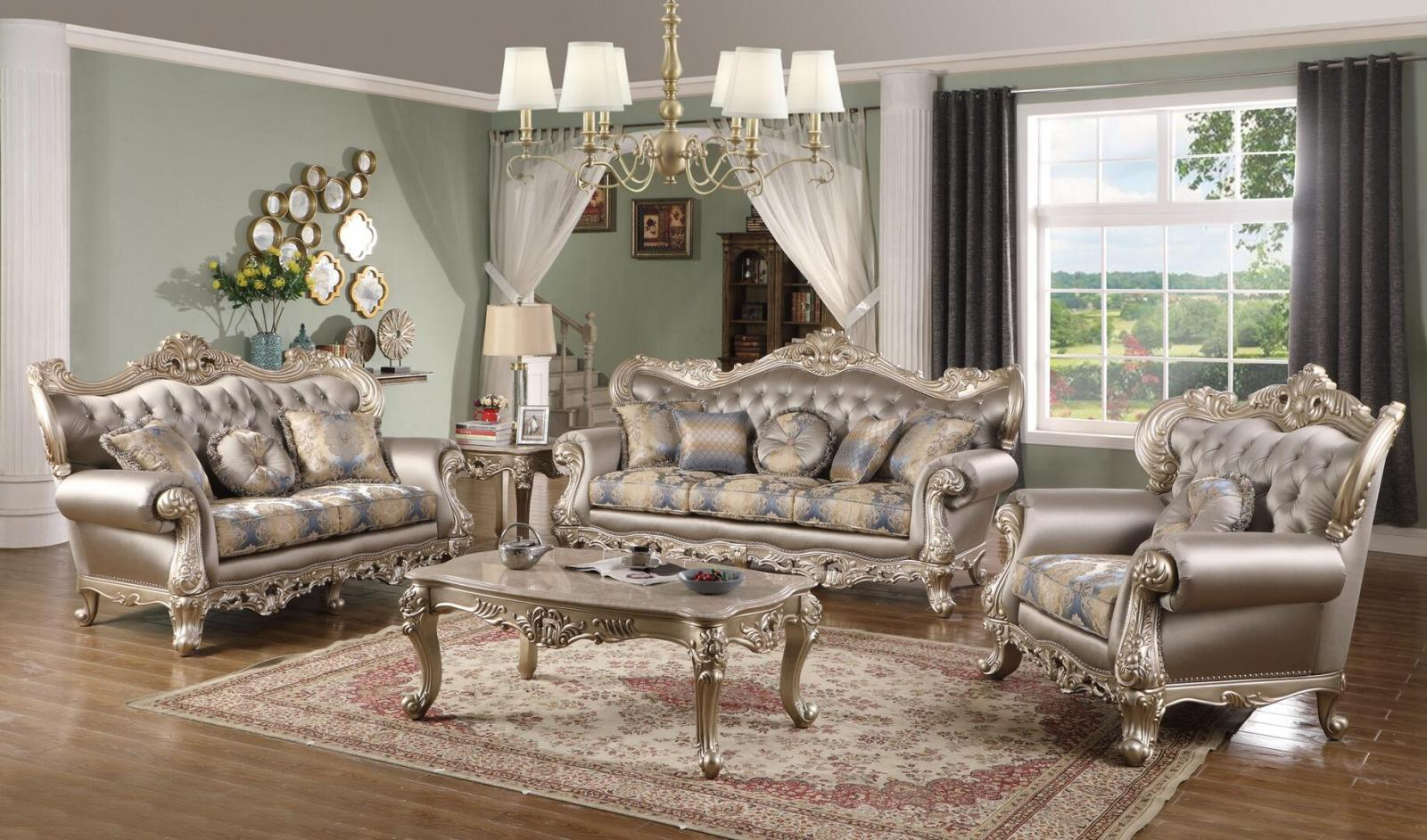 Transitional Silver Faux Leather Sofa Loveseat Chair and Coffee Table 4 pcs Cosmos Furniture Ariel-Set-4