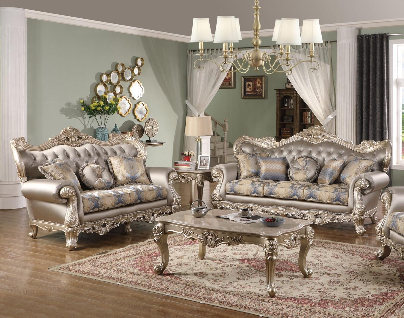 Transitional Silver Faux Leather Sofa and Loveseat Set 2 pcs Cosmos Furniture Ariel-Set-2